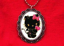HELLO DEVIL KITTY CAT 2 PENDANT NECKLACE GOTH KAWAII