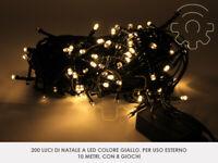 Serie 200 luci di Natale a led bianco caldo 10 mt catena 8 giochi per esterno e
