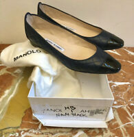 MANOLO BLAHNIK 'Giungla' Flat-Navy Quilted Leather w/Black Patent Cap Toe MINT!