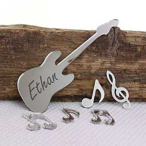 Guitar Musical Notes Mirror Personalised Door Name Plaque Boy Girls Room Sign