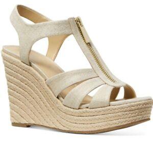 NIB Size 9.5 MICHAEL KORS Berkley Wedge Sandal Pale Gold Metallic Linen