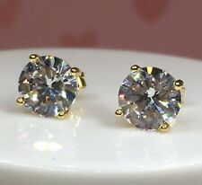 3 CT diamond stud earrings D VVS1 14K yellow gold wedding solitaire bridal 1.5 2