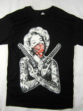 Marilyn Monroe Guns Tattoos Bandana pistols shirt men's black choose size