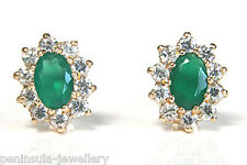 9ct Gold Green Agate Cluster stud earrings Made in UK Gift Boxed studs