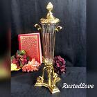 Vintage Crystal Vase Brass Stand Decorative Crafts Inc Vintage lidded Urn  *