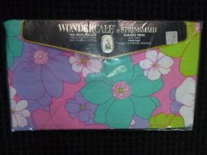 NOS Vtg Springmaid WondercaleTwin Flat Lotus Blossom Sheet Flower Power 50/50per