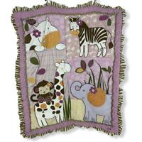 CoCaLo Baby Pink Brown Zoo Animal Blanket Quilt Comforter