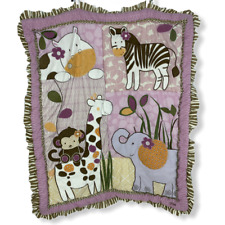 CoCaLo Baby Pink Brown Zoo Animal Blanket Quilt Comforter