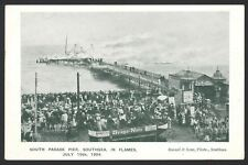 Hants. Portsmouth. Southsea. South Parade Pier in Flames by Russell & Son