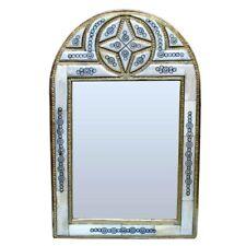 marocain orientale miroir fait à la main blanc chameau OS BAIDA H47cm