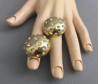Vintage NORMA JEAN Gold Tone-Clear Rhinestone, Round Clip on  Earrings