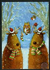 Christmas Moose Owl Bird Knitting Stockings Yarn Glittered - Christmas Card New