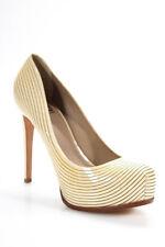 Pour la Victoire Womens Stilettos Pumps Beige Striped Patent Platform Size 8.5