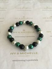Multi- Color Glass Pearl Green, Silver, Black Beaded Stretch Bracelet