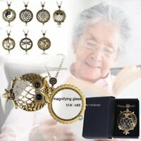 Vintage Chain Magnifying Glass Hot Necklace Pendant Grandma Gift +Free Black Box