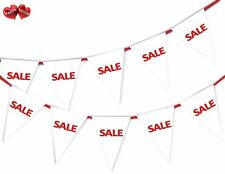 SALE White Bunting Banner 15 flags For any shop retail sale and commercial site