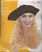 Long Blonde Wig Leather Look Pirate Costume Hat with Wavy Hair Fancy Dress