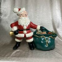 Vintage Christmas Hand Painted Atlantic Mold Ceramic Santa with Toy Sack Gifts