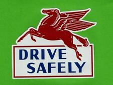 """MOBIL DRIVE SAFELY"" Vinyl Sticker Decal Garage Service Station Vintage Style"