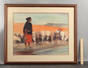 JEFFREY LUNGE Navajo Indian Woman & Sheep American Western Watercolor Painting