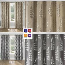RITZ Metallic Tree Leaf Print Thermal Blockout Eyelet Top Ring Top Curtains Pair