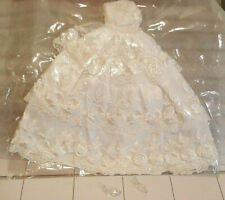 Barbie Satiny White Wedding Gown with Floral White Lace and Crystal Clear Shoes