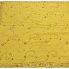 Sanskriti Vintage Hand Beaded Heavy Saree Georgette Sequins Yellow Sari Kundan