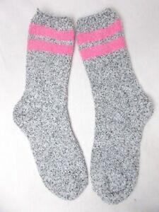 Charter Club Women's Super Soft Butter Socks Varsity Stripe Grey/Pink Size 9-11