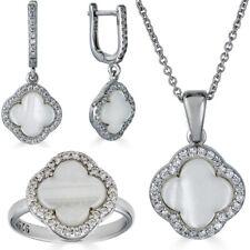 Реальный 925 серебро четыре листа клевера перламутр кольцо ожерелье и серьги дамы