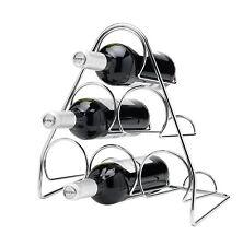 PISA PIRAMIDE IN METALLO CROMATO 6 bottiglia di vino rack di stoccaggio indipendente da Cucina UK