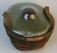 New ListingLongaberger Basket with Wood Lid Leather Handles