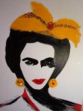 FRIDA KAHLO ---  Yellow Bow :: Abstract POP MEXICAN FOLK ART Style