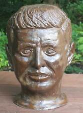 "VTG John F. Kennedy JFK Bust Terra Cotta Sculpture Signed by Artist 9 1/2"" tall"