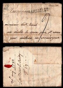Lettre Pré-philatélique : M. Postale de Marseille = Cote 35 € / Classique France