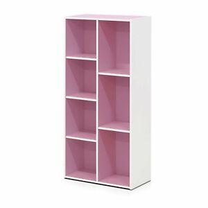 Green Pink Blue White 7 Shelf Bookcase Bookshelf Book Cube Storage Display Decor