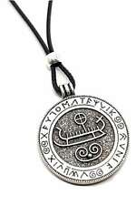 Large Round Viking Longboat Ship Boat Pendant Runes Necklace Pewter