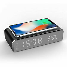 Electric LED 12/24H Alarm Clock With Phone Wireless Charger Table Digital