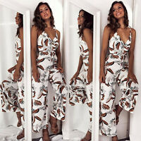 Womens Summer V Neck Floral Long Jumpsuit Casual Cocktail Playsuit Party Romper
