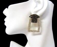 """New Black and White Rhinestone Big Stud Earrings, 1.5"""""""