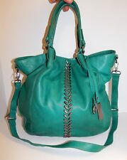 Lucky Brand Charlotte Teal Green Leather Studded Tote Crossbody Bag