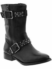 Arturo Chiang Fire Black Leather Ankle Motorcycle Boot 6 Studded Excellent
