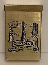 New listing Vintage Gold Tone Cigarette Case Travel Souvenir of Chicago, 3.5�H x 2.25�W