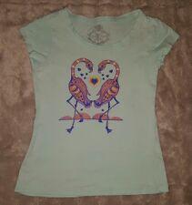GIRLS Sz 7 blue MISS UNDERSTOOD flamingo top PRETTY! GLITTER!