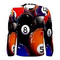 New BILLIARD POOL BALLS Sublimated Men's Long Sleeve T-shirt S M L XL 2XL 3XL