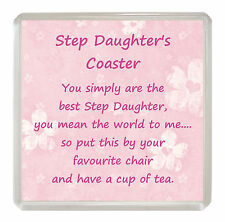 STEP DAUGHTER Drink Coaster Fun Poem Novelty Birthday Christmas Gift Present