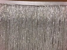 "By the Yard-6"" Glass WHITE AB BUGLE Seed Bead Beaded Fringe Lamp Costume Trim"