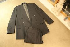 Mens Dark Grey Crombie Full Suit Pure New Wool 44 Chest 34 Length