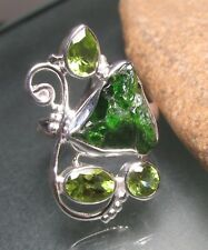 Sterling silver rough CHROME DIOPSIDE/cut PERIDOT ring UK Q¾/US 8.75. Gift bag.