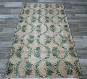 Bohemian Vintage Runner Rug Turkish Handmade Unique Floral Wool Carpet 3x6 ft