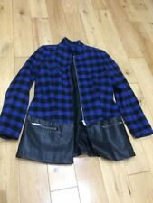 ZARA Trafaluc Zip up Jacket size EUR Small Blue/Black Check